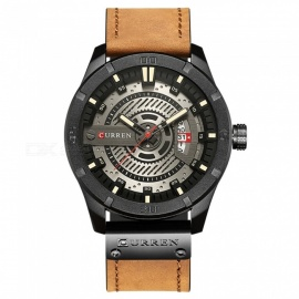 CURREN-8301-Mens-PU-Leather-Water-Resistant-Quartz-Wrist-Watch-with-Date-Display
