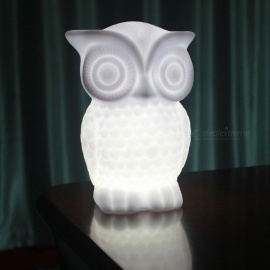 P-TOP-20lm-1W-LED-Bead-Beam-Battery-Powered-Owl-Shaped-Night-Light-Desk-Lamp-Cold-White-(3-x-AAA-Batteries)