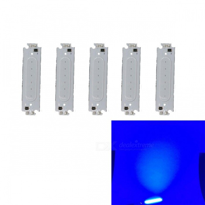 JRLED 60 x 15mm 2W Blue LED Module (DC 12V / 5 PCS)Form  ColorWhite + MulticolorColor BINBlueModelN/AMaterialAluminum alloy + silica gelQuantity5 DX.PCM.Model.AttributeModel.UnitPower2 DX.PCM.Model.AttributeModel.UnitRate VoltageDC12VWorking Current160 DX.PCM.Model.AttributeModel.UnitDimmableYesEmitter TypeCOBTotal Emitters6Beam Angle140 DX.PCM.Model.AttributeModel.UnitColor Temperature12000K,Others,N/ATheoretical Lumens200 DX.PCM.Model.AttributeModel.UnitActual Lumens120 DX.PCM.Model.AttributeModel.UnitWavelength460nmConnector TypeOthers,Welding lineCertificationCE ROHSOther FeaturesThis product DC12V voltage use, small size, high brightness, is a good choice for automotive reading lights, DIY modified lighting.Packing List5 x 12V 2W COB LED Modules<br>
