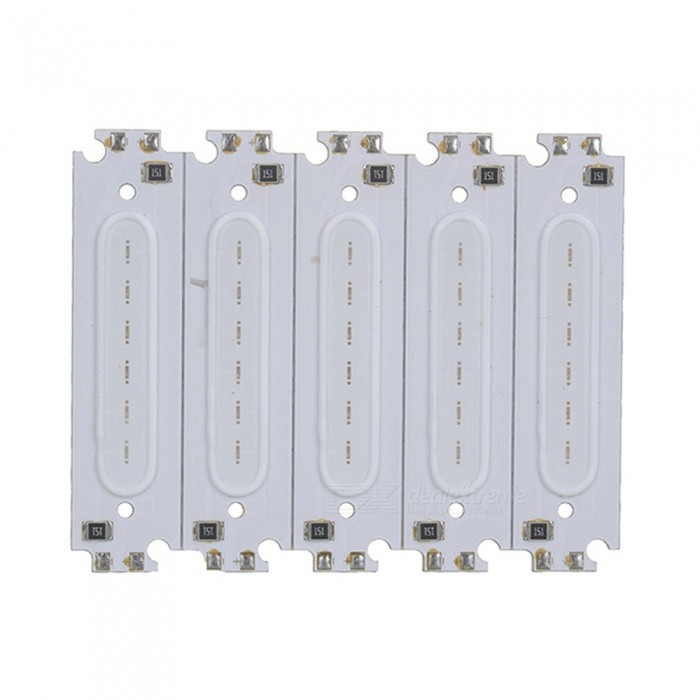JRLED 60 x 15mm 2W COB Red LED Module (DC 12V / 5 PCS)Form  ColorWhite + MulticolorColor BINRedModelN/AMaterialAluminum alloy + silica gelQuantity5 DX.PCM.Model.AttributeModel.UnitPower2 DX.PCM.Model.AttributeModel.UnitRate VoltageDC12VWorking Current160 DX.PCM.Model.AttributeModel.UnitDimmableYesEmitter TypeCOBTotal Emitters6Beam Angle140 DX.PCM.Model.AttributeModel.UnitColor Temperature12000K,Others,N/ATheoretical Lumens200 DX.PCM.Model.AttributeModel.UnitActual Lumens130 DX.PCM.Model.AttributeModel.UnitWavelength635nmConnector TypeOthers,Welding lineCertificationCE ROHSOther FeaturesThis product DC12V voltage use, small size, high brightness, is a good choice for automotive reading lights, DIY modified lighting.Packing List5 x 12V 2W COB LED Modules<br>