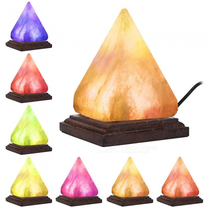 YouOKLight Triangle Hand Carved Wooden Base Himalayan Crystal Rock Salt Lamp, USB Powered Air Purifier Night Light