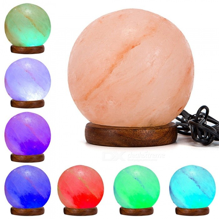 YouOKLight Round Hand Carved USB Wooden Base Himalayan Crystal Rock Salt Lamp, Air Purifier Night Light