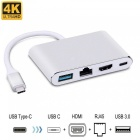 Cwxuan 4-in-1 USB 3.1 Type-C to 4K HDMI & USB OTG & RJ45 Ethnernet & Type-C PD Charger Port Adapter