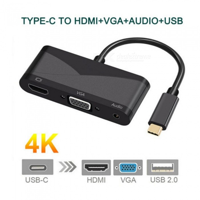 4K HD USB3.1 Type-C to HDMI, VGA, USB2.0 Converter CableLaptop/Tablet Cable&amp;Adapters<br>Form  ColorBlackModelTHV401Quantity1 DX.PCM.Model.AttributeModel.UnitShade Of ColorBlackMaterialABSInterfaceUSB 3.0,Others,VGA  HDMI  AUDIOTypeTabletsCompatible ModelWith USB 3.1 Type C (DP mode) interface notebook, mobile phone, tablet PCCertificationCEPacking List1 x Adapter cable<br>