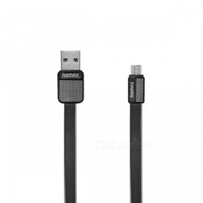 Remax 2.1A Durable Flat Metal Micro USB Fast Charge Charging Data Cable - Black