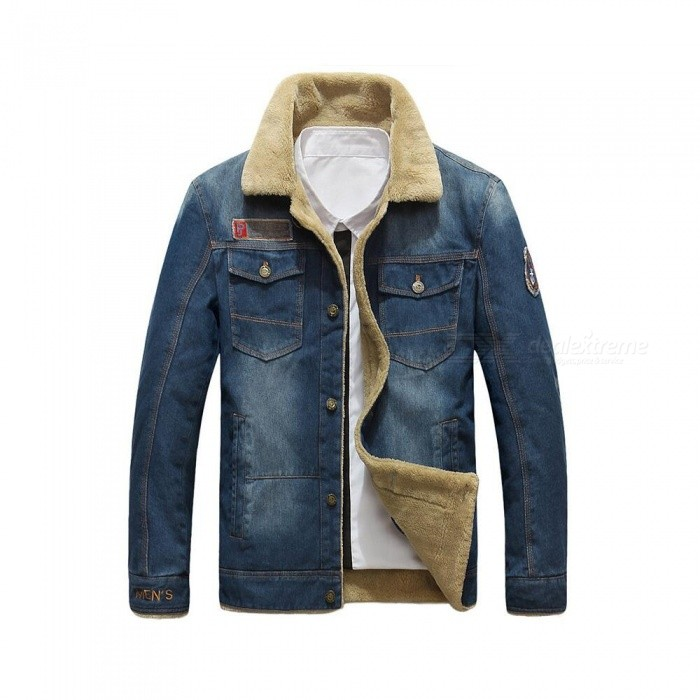 Buy 99891 Men' Winter Fashion Warm Denim Jacket Cool Long Sleeves Coat - Blue (L) with Litecoins with Free Shipping on Gipsybee.com