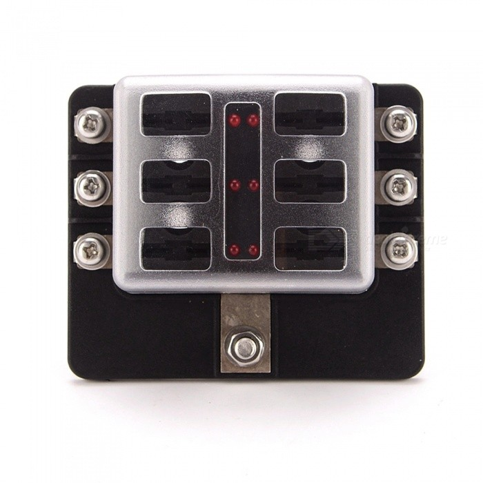 IZTOSS Universal 12V-24V 6-Way Fuse Box with LED IndicatorOther Gadgets<br>Form  Color6-Way Fuse BoxModelF1693-ZQuantity1 DX.PCM.Model.AttributeModel.UnitMaterialPBT + PCShade Of ColorBlackCurrent30 DX.PCM.Model.AttributeModel.UnitPacking List1 x Fuse box<br>