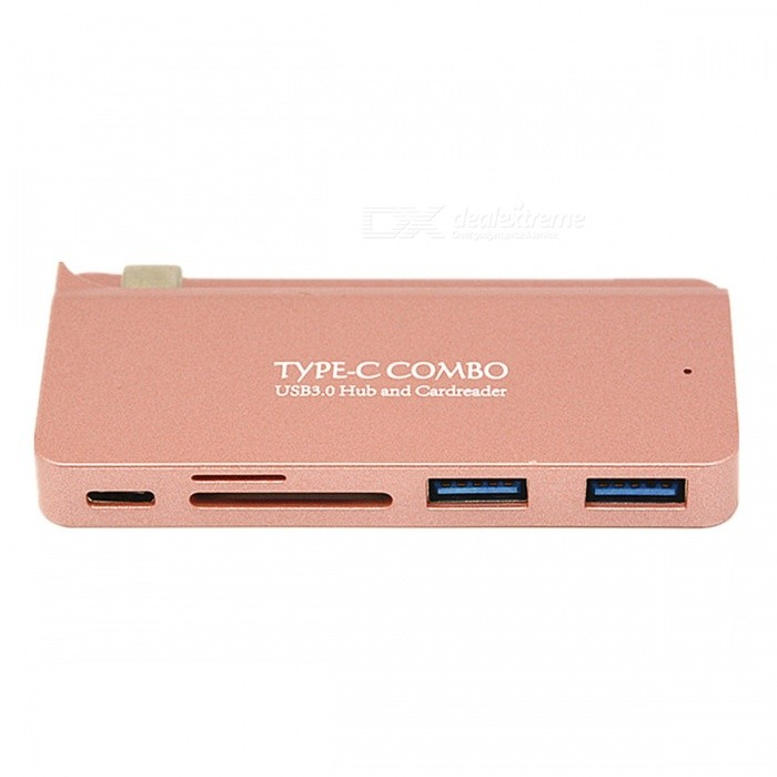 KELIMA Type-C to USB3.0 HUB, Card Reader, SD / TF Card Adapter - Pink