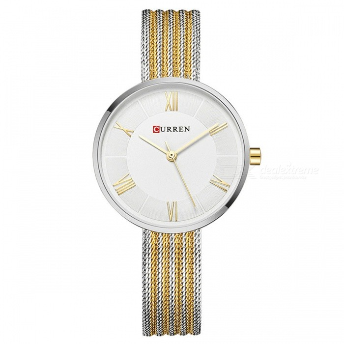 CURREN 9020 Womens Stylish Quartz Wrist Watch - Silver + GoldenQuartz Watches<br>Form  ColorGolden + Silver + Multi-ColoredModel9020Quantity1 DX.PCM.Model.AttributeModel.UnitShade Of ColorGoldCasing MaterialAlloyWristband Material-Suitable forAdultsGenderWomenStyleWrist WatchTypeFashion watchesDisplayAnalogBacklightnoMovementQuartzDisplay Format12 hour formatWater ResistantFor daily wear. Suitable for everyday use. Wearable while water is being splashed but not under any pressure.Dial Diameter3.2 DX.PCM.Model.AttributeModel.UnitDial Thickness1 DX.PCM.Model.AttributeModel.UnitWristband Length23 DX.PCM.Model.AttributeModel.UnitBand Width1 DX.PCM.Model.AttributeModel.UnitBattery626Packing List1 x Watch<br>