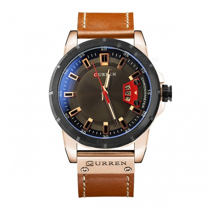 CURREN 8284 Men's Cool PU Leather Quartz Wrist Watch with Date Display - Golden + Coffee