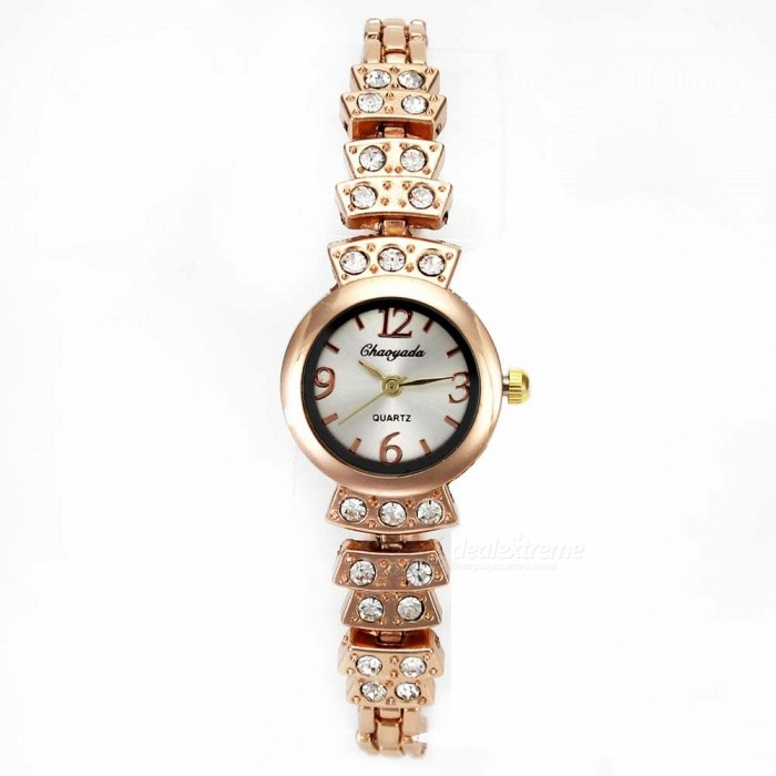 Chaoyada 1145 Rhinestone Bracelet Womens Quartz Watch - Rose GoldWomens Bracelet Watches<br>Form  ColorRose GoldModel1145Quantity1 DX.PCM.Model.AttributeModel.UnitShade Of ColorGoldCasing MaterialElectroplating steelWristband MaterialElectroplating steelSuitable forAdultsGenderWomenStyleWrist WatchTypeFashion watchesDisplayAnalogDisplay Format12 hour formatMovementQuartzWater ResistantFor daily wear. Suitable for everyday use. Wearable while water is being splashed but not under any pressure.Dial Diameter2.3 DX.PCM.Model.AttributeModel.UnitDial Thickness0.8 DX.PCM.Model.AttributeModel.UnitBand Width0.6 DX.PCM.Model.AttributeModel.UnitWristband Length20 DX.PCM.Model.AttributeModel.UnitBattery1 x LR626 battery (included)Packing List1 x Watch<br>