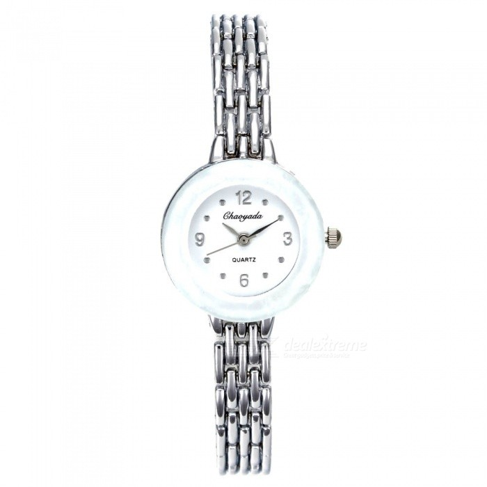 Chaoyada 1146 Rhinestone Bracelet Womens Quartz Watch - Silver + WhiteWomens Bracelet Watches<br>Form  ColorSilver + WhiteModel1145Quantity1 DX.PCM.Model.AttributeModel.UnitShade Of ColorSilverCasing MaterialElectroplating steelWristband MaterialElectroplating steelSuitable forAdultsGenderWomenStyleWrist WatchTypeFashion watchesDisplayAnalogDisplay Format12 hour formatMovementQuartzWater ResistantFor daily wear. Suitable for everyday use. Wearable while water is being splashed but not under any pressure.Dial Diameter2.7 DX.PCM.Model.AttributeModel.UnitDial Thickness0.9 DX.PCM.Model.AttributeModel.UnitBand Width0.9 DX.PCM.Model.AttributeModel.UnitWristband Length19.7 DX.PCM.Model.AttributeModel.UnitBattery1 x LR626 battery (included)Packing List1 x Watch<br>