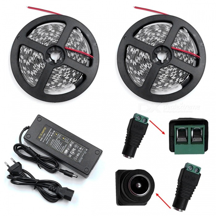 ZHAOYAO Non-Waterproof 144W DC 12V 10m 5630SMD-600LEDs LED Strip Light with 10A EU Plug Charger + DC Connector