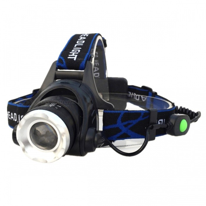 ZHAOYAO Outdoor Riding Flashlight Bike Bicycle Light Headlight Headlamp for Camping, Hunting, Fishing - Black + BlueHeadlamps<br>Form  ColorBlack + Blue + Multi-ColoredQuantity1 DX.PCM.Model.AttributeModel.UnitMaterialAluminium alloyEmitter BrandOthers,N/ALED TypeXM-L2Emitter BINT6Color BINWhiteNumber of Emitters1Working Voltage   3.7 DX.PCM.Model.AttributeModel.UnitPower Supply2*18650Current4.2 DX.PCM.Model.AttributeModel.UnitTheoretical Lumens600-1000 DX.PCM.Model.AttributeModel.UnitActual Lumens600-1000 DX.PCM.Model.AttributeModel.UnitRuntime2-4 DX.PCM.Model.AttributeModel.UnitNumber of Modes3Mode ArrangementHi,Low,Others,StrobeMode MemoryNoSwitch TypeForward clickySwitch LocationSideLensGlassReflectorAluminum SmoothBand Length50 DX.PCM.Model.AttributeModel.UnitCompatible Circumference-Beam Range100-300 DX.PCM.Model.AttributeModel.UnitPacking List1 x Headlight1 x Charging Cable<br>