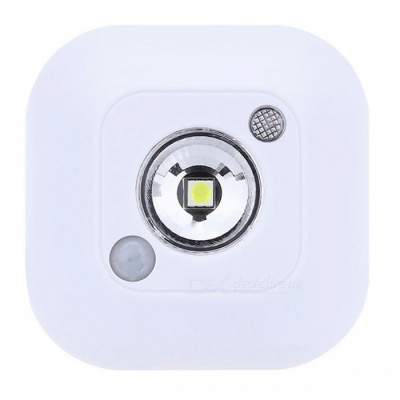 Mini Wireless Infrared LED Motion Sensor Adhesive Ceiling Night Light, Battery Powered Porch Cabinet Lamp - White