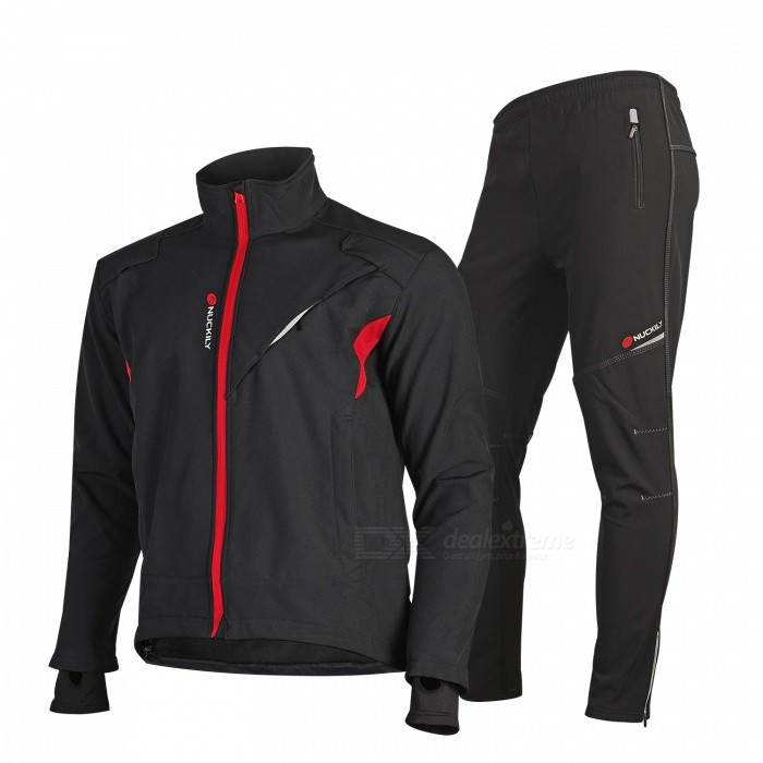 NUCKILY ME019MF019 Cycling Jersey Trousers Pants Set Windproof Fleece Thick Warm Sportswear for Winter - Black (XL)Form  ColorBlackSizeXLModelME019MF019Quantity1 DX.PCM.Model.AttributeModel.UnitMaterial93% Polyester + 7% SpandexGenderUnisexSeasonsAutumn and WinterShoulder Width50 DX.PCM.Model.AttributeModel.UnitChest Girth120 DX.PCM.Model.AttributeModel.UnitSleeve Length66 DX.PCM.Model.AttributeModel.UnitTotal Length70 DX.PCM.Model.AttributeModel.UnitWaist72 DX.PCM.Model.AttributeModel.UnitHip Girth112 DX.PCM.Model.AttributeModel.UnitTotal Length105 DX.PCM.Model.AttributeModel.UnitThigh Girth68 DX.PCM.Model.AttributeModel.UnitCrotch Length30.5 DX.PCM.Model.AttributeModel.UnitLength Of Hem33 DX.PCM.Model.AttributeModel.UnitSuitable for Height175-180 DX.PCM.Model.AttributeModel.UnitBest UseCycling,Mountain Cycling,Recreational Cycling,Road Cycling,Triathlon,Bike commuting &amp; touringSuitable forAdultsTypeLong Pants,Long JerseysPacking List1 x Jersey1 x Pants<br>