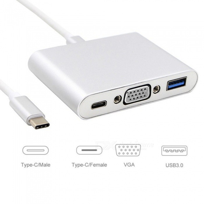Dayspirit Type-c Male to USB 3.0, VGA, Type-C Female Adapter Converter - SilverAV Adapters And Converters<br>Form  ColorSilverModelN/AMaterialAluminum alloyQuantity1 pieceShade Of ColorSilverConnectorUSB,VGA,Others,Type-CPacking List1 x Adapter<br>