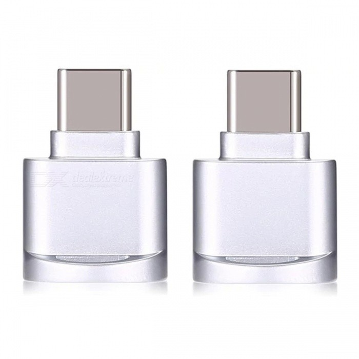 Buy Mini Portable Type-C USB Interface Micro SD Card Reader, OTG Adapter - Silver (2 PCS) with Litecoins with Free Shipping on Gipsybee.com