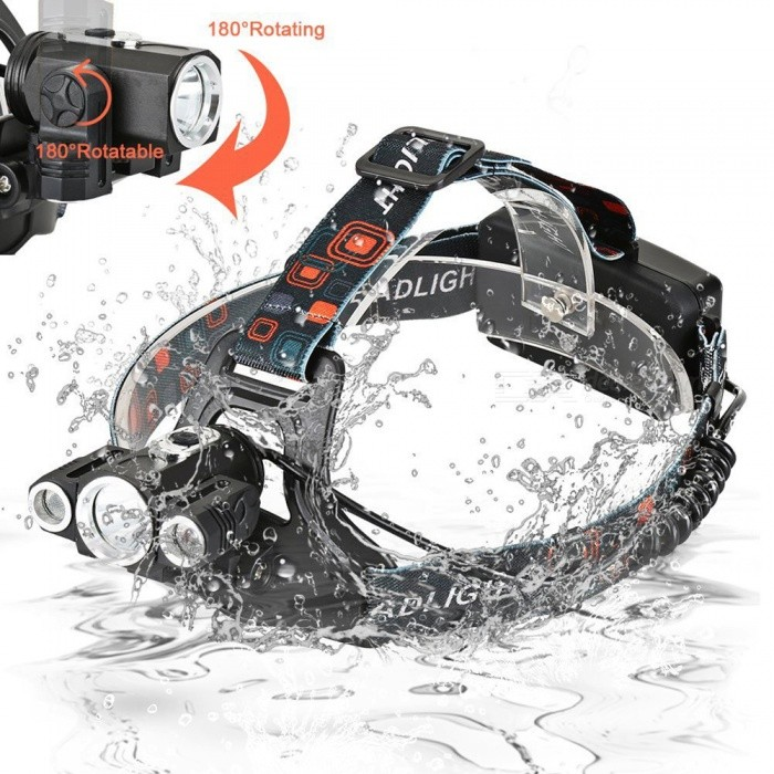 ZHAOYAO T6 XPE 3-LED Waterproof USB Rechargeable Multi-functional 4-Mode Headlamp, Bicycle Light - BlackHeadlamps<br>Form  ColorBlack + Silver + Multi-ColoredQuantity1 setMaterialAluminum alloyEmitter BrandCreeLED TypeXM-LEmitter BINT6Color BINWhiteNumber of Emitters3Working Voltage   3.7-7.4 VPower Supply18650Current1 AActual Lumens500-1200 lumensRuntimeDepends on the battery quantities hourNumber of Modes4Mode ArrangementHi,Mid,Low,Slow StrobeMode MemoryNoSwitch TypeReverse clickySwitch LocationHeadLensGlassReflectorAluminum SmoothBand Length20 cmCompatible Circumference40-80CMBeam Range50-250 mPacking List1 x Headlight1 x US charger1 x Car charger1 x Car clip<br>