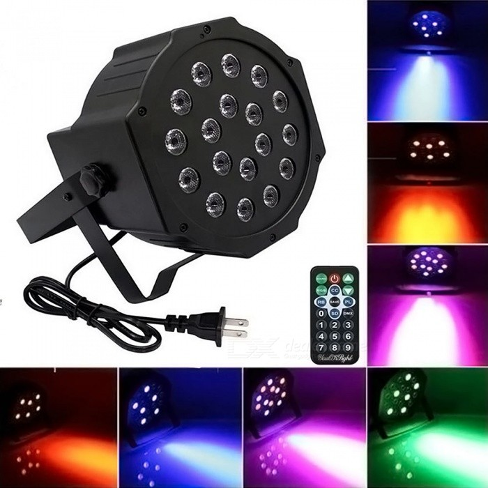 YouOKLight LED Par Light with RGB Magic Effect Stage Lighting by Remote Control and DMX512 for Party Disco KTV Wedding (US Plug)Stage Lights<br>Form  ColorBlackModelYK2300-USMaterialPlastic + MetalQuantity1 pieceShade Of ColorMulti-colorPattern TypeN/ATotal Power18 WPower AdapterUS PlugOther FeaturesAC 100-240V,50/60HzPacking List1 x LED Par Light 1 x Remote control 1 x User Guide 2 x Brackets 4 x Screws 2 x Rubber Rings<br>