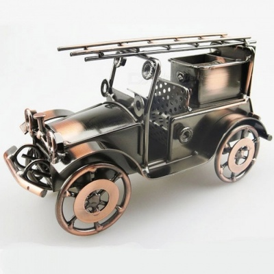 Creative European-Style Iron Fire Engine Model Crafts for Home, Office Decoration