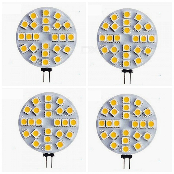 ZHAOYAO G4 5W AV/DC 12V 5050 SMD 24-LED Light - Warm White (4PCS)G4<br>Color BINWarm White, 4PCSModelG4 5050-24L-WW-4MaterialPCBForm  ColorWhiteQuantity4 DX.PCM.Model.AttributeModel.UnitPower5WRated VoltageOthers,AC/DC-12V DX.PCM.Model.AttributeModel.UnitConnector TypeG4Chip BrandOthers,LEDChip Type5050Emitter Type5050 SMD LEDTotal Emitters24Actual Lumens20-450 DX.PCM.Model.AttributeModel.UnitColor Temperature12000K,Others,2800-3500KDimmableNoBeam Angle180 DX.PCM.Model.AttributeModel.UnitPacking List4 x LEDs<br>
