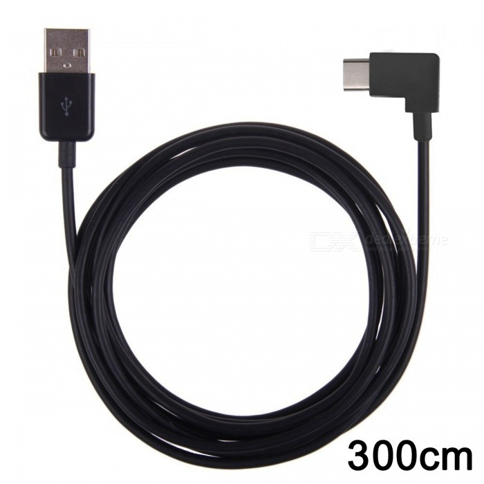 CY UC-011-BK-3.0M 300cm Right Angled USB 3.1 Type-C to USB 2.0 Cable w/ 90 Degree Connector for Tablet & Mobile Phone