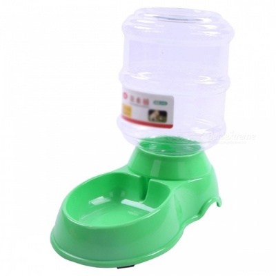 P-TOP 3.5L Large Capacity Plastic Automatic Pet Feeder for Cats Dogs, Pets Water Dispenser Food Bowl - Green