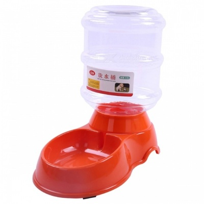 P-TOP 3.5L Large Capacity Plastic Automatic Pet Feeder for Cats Dogs, Pets Water Dispenser Food Bowl - Orange