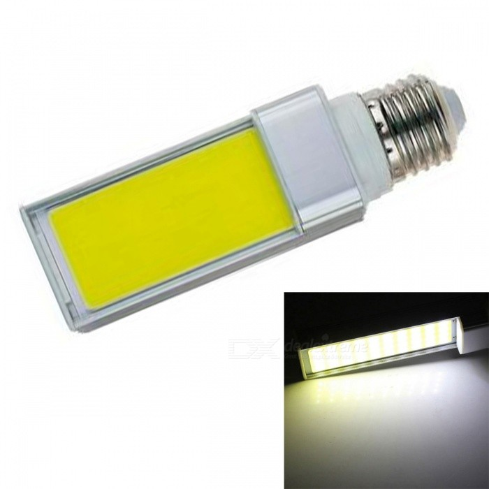 JRLED E27 7W Cold White COB LED Horizontal Plug Lamp with No Flicker (AC 85-265V)E27<br>Color BIN7W Cold WhiteModelN/AMaterialAluminum alloy + silica gelForm  ColorSilver + YellowQuantity1 DX.PCM.Model.AttributeModel.UnitPower7WRated VoltageAC 85-265 DX.PCM.Model.AttributeModel.UnitConnector TypeE27Chip BrandEpistarChip TypeN/AEmitter TypeCOBTotal Emitters1Theoretical Lumens800 DX.PCM.Model.AttributeModel.UnitActual Lumens700 DX.PCM.Model.AttributeModel.UnitColor Temperature6000KDimmableNoBeam Angle140 DX.PCM.Model.AttributeModel.UnitWavelengthN/ACertificationCE ROHSOther FeaturesThis product is used as the light source COB light source with high brightness, low heat, light, not dazzling light uniformity and other benefits, driven by a wide voltage constant current universal voltage, no flicker, the shell is made of one high conductivity Aluminum Alloy heat dissipation, reliable quality, are exported to the world.Packing List1 x E27 COB LED Bulb<br>