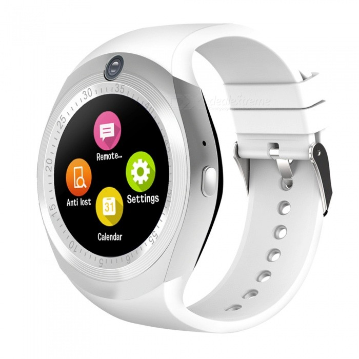 1.54 Round Touch Screen Smart Watch, Supports Pedometer, Sedentary Reminder, 0.3MP Camera, Sim Card - WhiteSmart Watches<br>Form  ColorWhite + MulticolorQuantity1 DX.PCM.Model.AttributeModel.UnitMaterialABSShade Of ColorWhiteCPU ProcessorMTK6261DScreen Size1.54 DX.PCM.Model.AttributeModel.UnitScreen Resolution240*240Touch Screen TypeYesBluetooth VersionBluetooth V4.0Compatible OSSupport for IOS7 and above and Androld4.3 or laterLanguageItalian, German, Dutch, Turkish, Russian, Arabic. English, French, Spanish, PortugueseWristband Length22 DX.PCM.Model.AttributeModel.UnitWater-proofIP65Battery ModeNon-removableBattery TypeLi-polymer batteryBattery Capacity280 DX.PCM.Model.AttributeModel.UnitStandby Time5-7 DX.PCM.Model.AttributeModel.UnitPacking List1 x Smart watch 1 x USB cable1 x User manual<br>