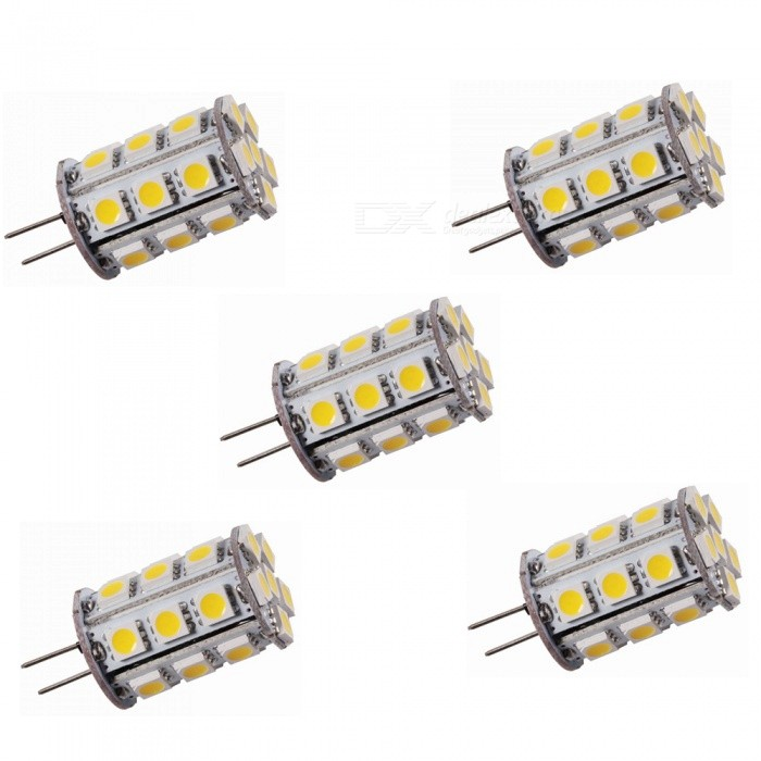 ZHAOYAO G4 4W AC/DC 12V 5050 SMD 24-LED Light Bulb - Warm White (5PCS)G4<br>Color BINWarm White, 5PCSMaterialPCBForm  ColorWhiteQuantity5 DX.PCM.Model.AttributeModel.UnitPower4WRated VoltageOthers,AC/DC-12 DX.PCM.Model.AttributeModel.UnitConnector TypeG4Chip Type5050Emitter Type5050 SMD LEDTotal Emitters24Actual Lumens150-350 DX.PCM.Model.AttributeModel.UnitColor Temperature3000KDimmableNoBeam Angle360 DX.PCM.Model.AttributeModel.UnitOther Features2800-3500KPacking List5 x LEDs<br>