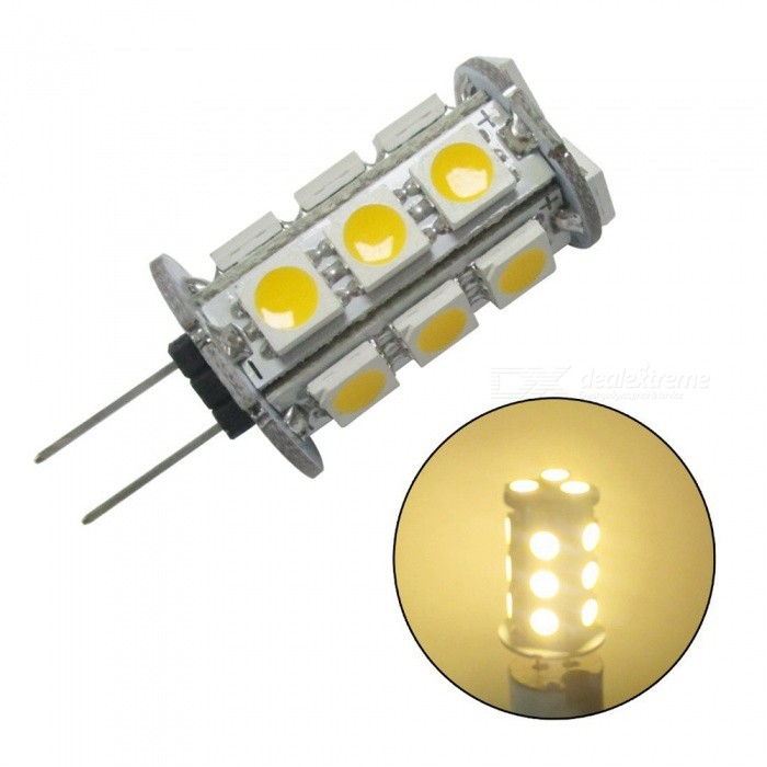 ZHAOYAO G4 3W AC/DC 12V 5050 SMD 18-LED Light Bulb - Warm WhiteG4<br>Color BINWarm White, 1PCMaterialPCBForm  ColorWhiteQuantity1 DX.PCM.Model.AttributeModel.UnitPower3WRated VoltageOthers,AC/DC-12V DX.PCM.Model.AttributeModel.UnitConnector TypeG4Chip Type5050Emitter Type5050 SMD LEDTotal Emitters18Actual Lumens100-250 DX.PCM.Model.AttributeModel.UnitColor Temperature3000KDimmableNoBeam Angle360 DX.PCM.Model.AttributeModel.UnitPacking List1 x LED<br>