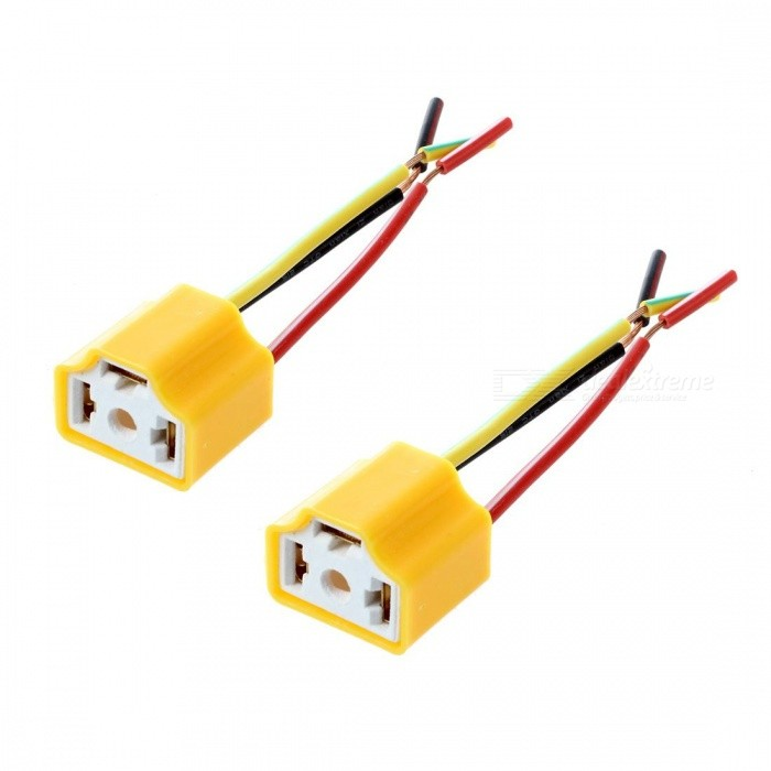 CARKING DC 12V Car Auto Headlight Connector, H4 Lamp Bulb Socket - Yellow (2 PCS)