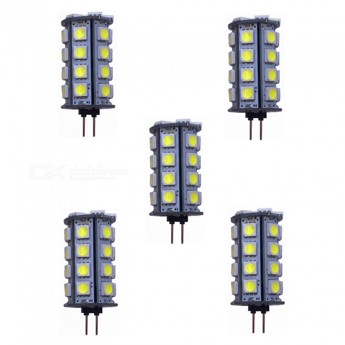ZHAOYAO G4 5W AC/DC 12V 5050 SMD 30-LED Light Bulb - Cold White (5PCS)G4<br>Color BINCold White, 5PCSMaterialPCBForm  ColorWhiteQuantity5 DX.PCM.Model.AttributeModel.UnitPower5WRated VoltageOthers,AC/DC-12 DX.PCM.Model.AttributeModel.UnitConnector TypeG4Chip Type5050Emitter Type5050 SMD LEDTotal Emitters30Actual Lumens200-450 DX.PCM.Model.AttributeModel.UnitColor Temperature6000KDimmableNoBeam Angle360 DX.PCM.Model.AttributeModel.UnitOther Features5500-7000KPacking List5 x LEDs<br>