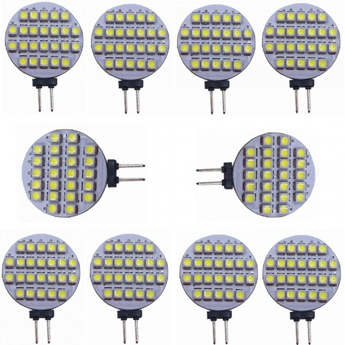 ZHAOYAO G4 2W DC 12V 3528 SMD 24-LED Light Bulb - Cold White (10PCS)G4<br>Color BINCold White, 10PCSModelCold white-3528-24LMaterialPCBForm  ColorWhiteQuantity10 DX.PCM.Model.AttributeModel.UnitPower2WRated VoltageOthers,DC-12V DX.PCM.Model.AttributeModel.UnitConnector TypeG4Emitter Type3528 SMD LEDTotal Emitters24Actual Lumens80-150 DX.PCM.Model.AttributeModel.UnitColor Temperature6000KDimmableNoBeam Angle180 DX.PCM.Model.AttributeModel.UnitOther Features5500-7000KPacking List10 x LEDs<br>