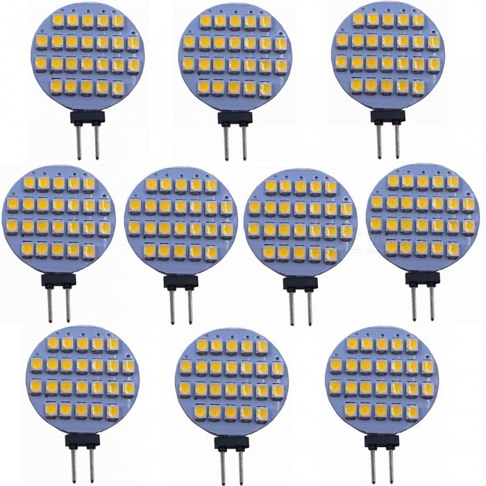 ZHAOYAO G4 2W DC 12V 3528 SMD 24-LED Light Bulb - Warm White (10PCS)G4<br>Color BINWarm White, 10PCSModelWarm white-3528-24LMaterialPCBForm  ColorWhiteQuantity10 DX.PCM.Model.AttributeModel.UnitPower2WRated VoltageOthers,DC-12V DX.PCM.Model.AttributeModel.UnitConnector TypeG4Emitter Type3528 SMD LEDTotal Emitters24Actual Lumens80-150 DX.PCM.Model.AttributeModel.UnitColor Temperature3000KDimmableNoBeam Angle180 DX.PCM.Model.AttributeModel.UnitOther Features2800-3500KPacking List10 x LEDs<br>