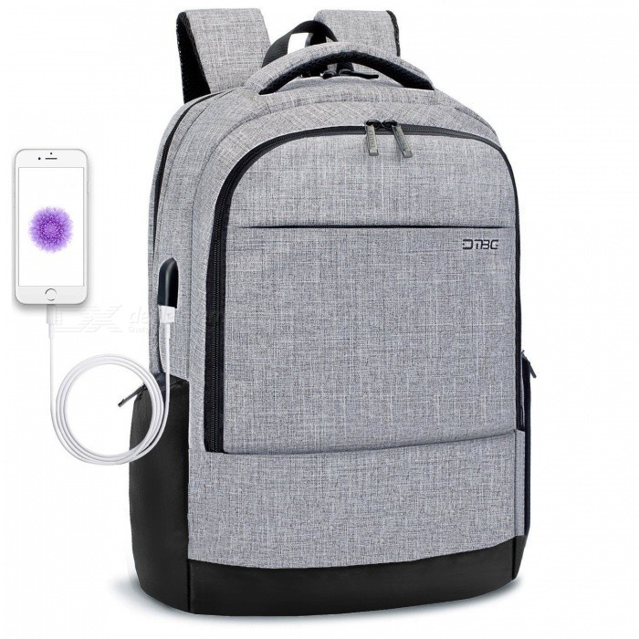 DTBG D8223W 17,3 tommers slank laptop ryggsekk, business bag med USB lade port - grå