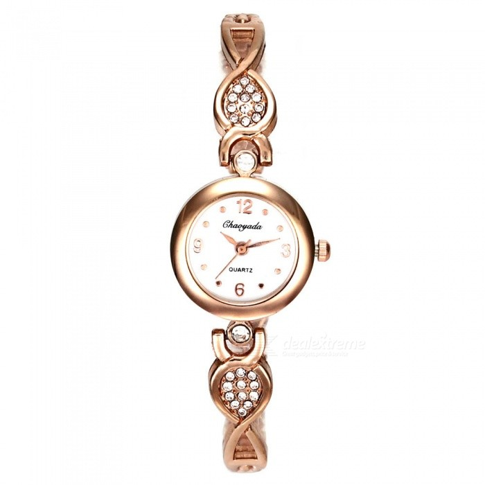 Chaoyada 1147 Rhinestone Bracelet Womens Quartz Watch - Rose GoldWomens Bracelet Watches<br>Form  ColorRose GoldModel1147Quantity1 setShade Of ColorGoldCasing MaterialElectroplating steelWristband MaterialElectroplating steelSuitable forAdultsGenderWomenStyleWrist WatchTypeFashion watchesDisplayAnalogDisplay Format12 hour formatMovementQuartzWater ResistantFor daily wear. Suitable for everyday use. Wearable while water is being splashed but not under any pressure.Dial Diameter2.4 cmDial Thickness0.8 cmBand Width0.6 cmWristband Length20 cmBattery1 x LR626 battery (included)Packing List1 x Watch<br>