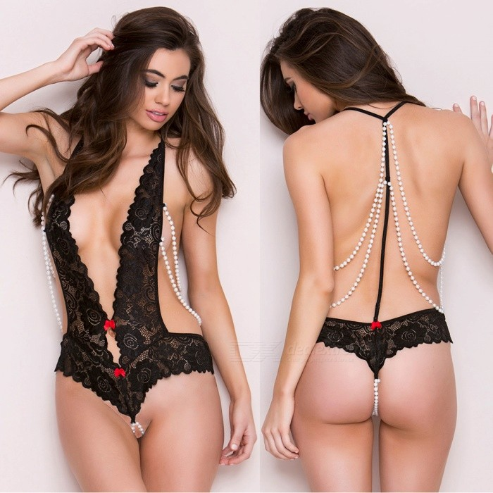 Ultra Sexy Deep V Halter Strap Pearl T-Shaped Lace Lingerie Underwear for Women, Lady (One Size)