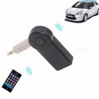 3.5mm Plug Car Mini Wireless Bluetooth Audio Receiver Adapter AUX with Microphone for Phones - Black