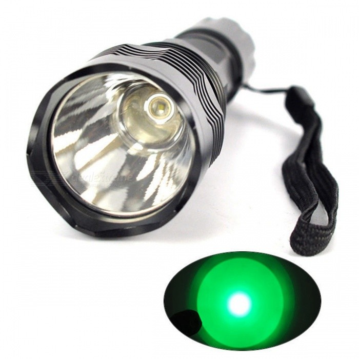 ZHOYAO H802 Outdoor Green Light Waterproof LED Flashlight - Black
