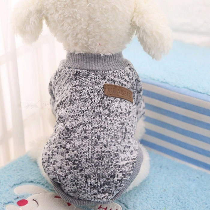Winter Warm Classic Dog Clothes, Puppy Outfit, Pet Jacket Coat, Soft Sweater Clothing for Small Medium Dogs Chihuahua M/Grey