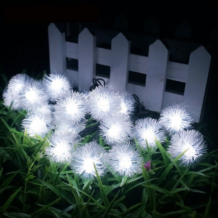 5m Portable Solar Powered 20-LED Fair String Lights for Outdoor Garden Christams Festival Holiday Lighting White Light