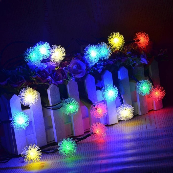 5m Portable Solar Powered 20-LED Fair String Lights for Outdoor Garden Christams Festival Holiday Lighting Multicolor