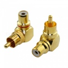 ZHAOYAO L-Type RCA 90 Degree Right Angle Elbow Male to Female Audio Plug - Golden (2 PCS)