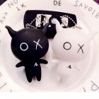 Creative Cartoon Doll Pendant Keychain for Car Bag Decoration, Gift for Couple Lover - Black, White (1 Pair)