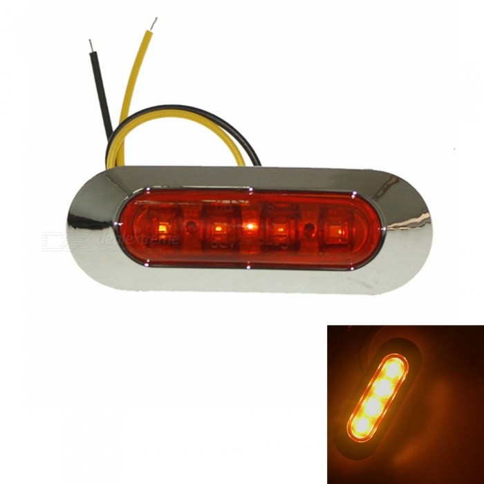 Sencart 4-LED 2835SMD Yellow Brake Side Marker Light, Truck Trailer Indicator Lamp (AC/DC 10-30V)Decorative Lights / Strip<br>Color BINYellowModelSide IndicatorQuantity1 DX.PCM.Model.AttributeModel.UnitMaterialABSForm  ColorSilver + YellowEmitter TypeOthers,2835SMDChip BrandCreeTotal Emitters4Color Temperature3500 DX.PCM.Model.AttributeModel.UnitRate Voltage10-30VPower1WActual Lumens80-120 DX.PCM.Model.AttributeModel.UnitWater-proofYesApplicationSignal light,Indicator lampPacking List1 x 4-SMD-2835 LED Lamp2 x Screws (2.5cm)<br>