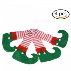 Striped Table and Chair Boots, Feet Cover Sleeves for Festive Christmas Decoration (4 PCS)