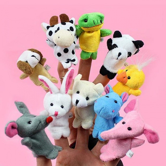 10Pcs/lot  Animal Finger Puppet Baby Kids Plush Toys Cartoon Child Baby Favor Puppets For Bedtime Stories Kids Chrismas Gift Multicolor